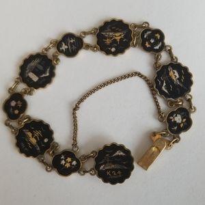 24kt. Gold Damasene Oriental panels Bracelet 1940